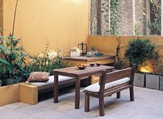Reduce side tables & storage tablesSide table set of 3 Mexicana . Dimensions (cm): W: 54 H: 60 D: 38 tables> Side concrete patio ideas - unique retreats in the backyard The Patio Slabs, Flagstone Patio, Patio Flooring, Wood Patio, Concrete Patio, Patio Dining, Patio Table, Outdoor Rooms, Outdoor Furniture Sets
