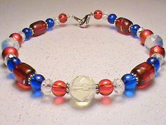 FOURTH OF JULY Red White Blue & Silver Glass by JustAMomFromNH, $12.00