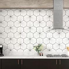 """Kitchen EliteTile Misha Hex 9 """"x Porzellan Mosaikfliesen Ceramic Mosaic Tile, Ceramic Subway Tile, Glass Subway Tile, Marble Mosaic, Stone Mosaic, Stone Tiles, Mosaic Glass, Porcelain Tile, Cement Tiles"""