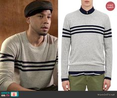 Jamal's grey striped sweater on Empire.  Outfit Details: http://wornontv.net/46784/ #Empire