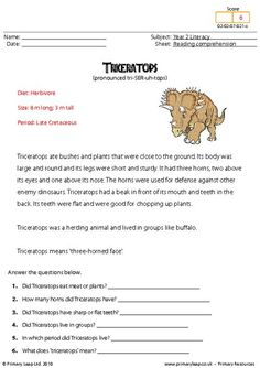 Having strong reading comprehension skills will also help in other subjects. This worksheet includes interesting facts about the Triceratops. Students read the text and then answer the study questions. Reading Comprehension Worksheets, Reading Strategies, Reading Skills, Comprehension Questions, Have Fun Teaching, Teaching Reading, Teaching Ideas, English Lessons, Learn English