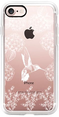 Casetify iPhone 7 Classic Grip Case - Simple White Hummingbird Animals and Flowers Print- Transparent by BlackStrawberry #Casetify