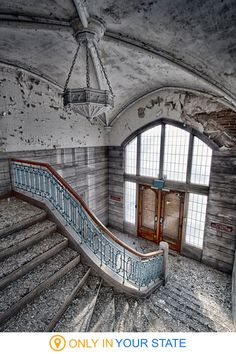 These fascinating, abandoned places in Missouri will transport you to the past. You'll find castles, hospitals, and the legendary Cementland. Abandoned Buildings, Abandoned Property, Abandoned Castles, Abandoned Mansions, Old Buildings, Abandoned Places, Stairs Architecture, Architecture Design, Beautiful Buildings