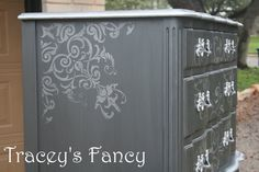 Vintage French Provincial Dresser & Chest of Drawers by Traceys Fancy, $1600.00  Silver/grey/gray damask stripes  bedroom storage