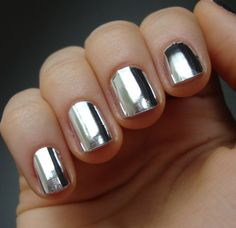 metallic silver foil nail wraps | Fancy