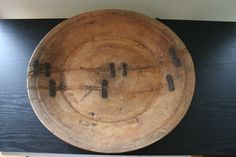 Large Primitive Wooden Bowl. Very Old with Metal Braces Nailed In. Great Antique Bowl with Antique European Style.