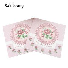 [RainLoong] 33 cm * 33 cm Rosa de Tecido Guardanapos De Papel Festivas & Do Partido Jantar Guardanapo Guardanapo 2 camadas 20 unidades/pacote(China (Mainland))