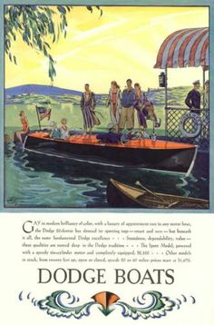 1929 - DODGE WOOD SPEED BOAT COUNTRY CLUB RUNABOUT ART DECO POSTER