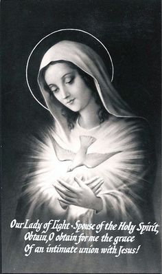 Our Lady of the light spouse of the Holy spirit, obtain o obtain for me the grace of an intimate Union with Jesus. Catholic Prayers, Catholic Saints, Roman Catholic, Blessed Mother Mary, Blessed Virgin Mary, Religious Pictures, Religious Art, Holy Spirit Prayer, Virgin Mary