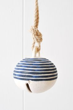 Ceramic Bell - Indigo Stripe by Koromiko Ceramic Studio, Ceramic Clay, Porcelain Ceramics, Ceramic Jewelry, Vintage Plates, Pottery Studio, Art Plastique, Clay Projects, Clay Creations