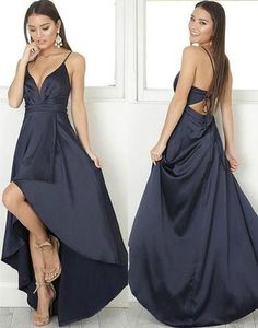 Black V-neck strap satin high low special high quality long floor-length Prom Dresses Gown,cheap prom gown BD1705440