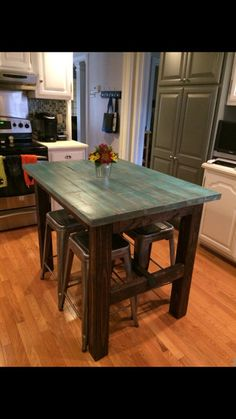 Rustic bar height table by reimaginedwoodcraft on etsy for Mobilia kitchen table