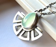 Geometric Style Necklace in sterling silver aqua chalcedony by EONDesign on Etsy