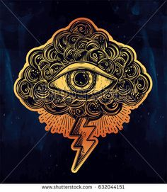 Hand drawn all seeing eye with cloud and lightning. Vintage style traditional tattoo flash Eye of Providence. Magic, spirituality, occultism concept. Old school ink art. Isolated vector illustration.