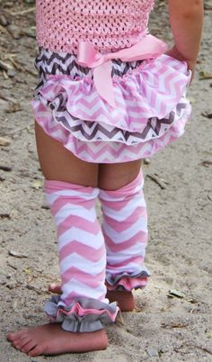 Pink and Grey Chevron Ruffled Bloomers