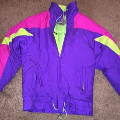 Purple Vintage Coat Reversible For someone that's a M. I wore once the sleeves are to short for my arms! I love this jacket if you love bright then this is perfect! Jackets & Coats Utility Jackets