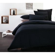 Illona Waffle Quilt Cover Set in Black - Emma Bedroom