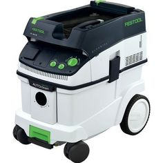 Festool 584014 CT 36 AutoClean Dust Extractor. Automatic filter cleaning technology ensures maximum suction when used with Planex Drywall Sander. Automatic Tool Start and adjustable suction with tool triggered or manual on-off switch and infinitely variable suction force, can be used wet or dry. Supplied with lightweight 11-1/2 foot long anti-static hose that is flexible and kink-resistant. Sys-dock and hose garage feature allows for the storage and transport of Festool Systainers. Large...