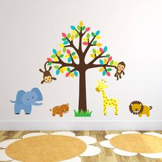 Safari Animals And Tree Wall Sticker
