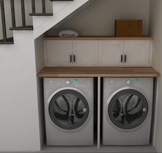 Kitchen Under Stairs Tiny ` Kitchen Under Stairs Laundry Cupboard, Laundry Nook, Tiny Laundry Rooms, Laundry Room Layouts, Laundry Closet, Laundry Room Design, Kitchen Under Stairs, Room Under Stairs, Under Stairs Cupboard