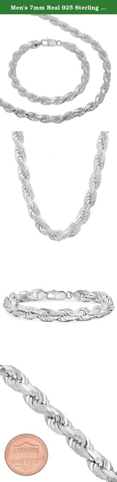 """Men's 7mm Real 925 Sterling Silver Diamond-Cut Rope 22"""" Chain & 9"""" Bracelet Set. This 7mm wide Italian silver rope chain features a winding pattern of interlocked chains, creating a faceted, 3D look. From the lobster-claw clasp that keeps it and your pendants and crosses securely around your neck to the .925 solid silver that's hypoallergenic and doesn't tarnish, there's a lot to love about this chain. Available in a variety of necklace lengths. Imported from Italy."""
