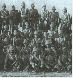 This photo was taken after the battle of Dargai. It is a detail of a group photo of all the surviving corporals in the 1st Battalion together with the corporals (naiks) of the 1/2nd Gurkhas. There are 42 corporals and lance-corporals of the Gordons. After the Heights had been captured for the second time there was no question of the position being deserted so the 2nd Gurkhas and the Dorsets were ordered to remain on guard at Dargai in case there was any sign of the tribesmen returning.