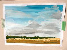 Landscape in gouache - landscape art illustration painting photography sky clouds nursery children interior design country door XantheCS op Etsy