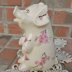 Shabby Vintage 1940s Piggy Bank Decorated With by RescuedTreasure, $18.00