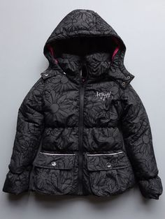 "Desigual Girls Tarifa Black Puffer Jacket NEW The ""Tarifa"" jacket from Desigual kids in a fun daisy black and black pattern.Girls sizes 5/6 to 13/14."