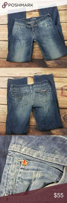 Hudson 32x33 -2 button front Jeans- Low Rise Beautiful wash great condition .Size says 30 but measures (32×33) . No signs of visible wear . Distressed areas look super kool. Hudson Jeans Jeans Boot Cut