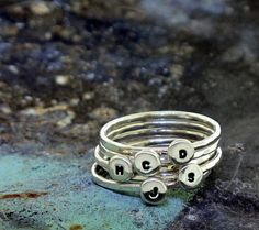 Stackable Letter Ring custom made ring with by KathrynRiechert