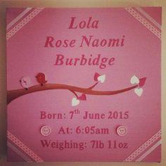 Cute baby birth canvas Name Canvas, Canvas Artwork, Wedding Canvas, Lola Rose, Baby Birth, Happy Day, Cute Babies, Names, Art On Canvas