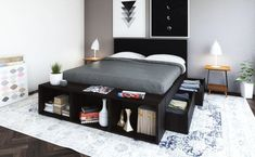Tempat Tidur Lucca dengan Kepala, Tempat Tidur Kamar Tidur Terbaru | Fabelio ® Headboards For Beds, Lucca, The Good Place, It Is Finished, Bedroom, Dark, Storage, King, Interior