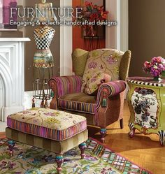 MacKenzie-Childs - Eclectic Furniture Hand Decorated at MacKenzie-Childs..Holy Amazing colors and patterns..Whoa....♥♥♥♥