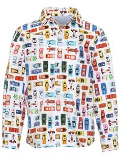 This multi-color Anne Kurris button-up shirt features an allover print of colorful cars. There is a spread collar and a front button placket as well as cuffs that can be rolled. This boys' button-up shirt with a rounded hemline is a perfect addition to a