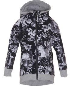 Hilma - Black Floral - lang og sporty softshelljakke med blomsterprint