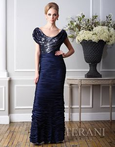 Terani Mother of the Bride - M1431  Terani Mother of the Bride    Off the shoulder gown with sequin covered bodice and satin chiffon ruched skirt