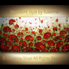 ORIGINAL Large Abstract Olive Green Red Poppies by ModernHouseArt, $345.00