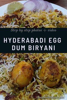 Hyderabadi egg biryani made with eggs, rice, yogurt, herbs & spices. Easy egg biryani recipe with step by step photos & a recipe video. Veg Recipes, Indian Food Recipes, Vegetarian Recipes, Curry Recipes, Snack Recipes, Indian Appetizers, Indian Snacks, Best Rice Recipe, Hyderabadi Cuisine