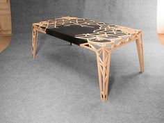 AMAZING Wood inlay in this beautiful table designed by T-nut for brand'honneur