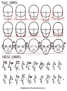 Face/Nose shapes reference by Kibbitzer on deviantART