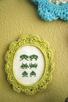 Space Invaders crocheted frame