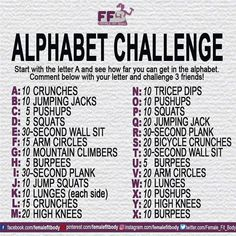 Alphabet Challenge - Comment below with your letter and challenge 3 friends! - Fitness is life, fitness is BAE! <3 Tap the pin now to discover 3D Print Fitness Leggings from super hero leggings, gym leggings, fitness, leggings, and more that will make you scream YASS!!!