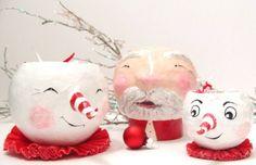 Snowman Christmas Folk Art Paper Mache Candy Bowl. $10.00, via Etsy.