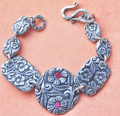 .999 Fine Silver Forget Me Not Ruby Zirconia Bracelet - For sale on Ruby Lane