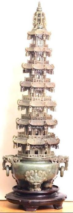 Masterfully Carved Chinese Jade Hotan Pagoda Censer Com : Lot 495