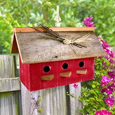 "Charmking Red Barn Birdhouse is handcrafted in Sisters, Oregon using recycled barn wood. Size: 17"" wide x 7"" deep x 16"" Tall."