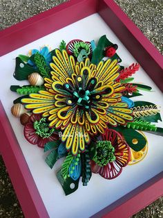 This is original handmade quilling technique The frame is 22 / 27 centimeters without glass,the depth of the frame is 3 centimeters,the work itself is protected by a protective coating. Each piece of paper are rolled,shaped and glued together with love All of this Wall Decor is