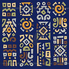 Background with elements of african ornament vector Arte Tribal, Tribal Art, Ethnic Patterns, Textile Patterns, African Art Paintings, Indian Folk Art, Africa Art, Painting Lessons, Printable Designs