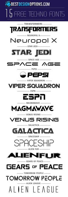 free techno futuristic fonts. Never know when I might need this